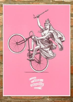 Roule Britannia cycling print for Artcrank, showing Queen Victoria pulling a wheelie