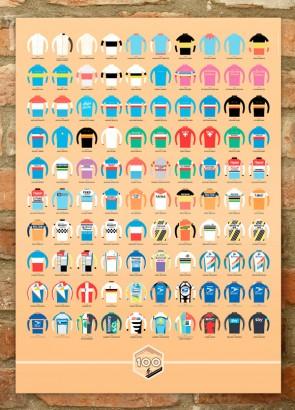 100 Jerseys Tour de France print showing 100 years of Tour winners' jerseys